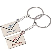 """Schlüsselanhänger 2 gravierte Briefe """" I Love You"""" Schlüsselring für Paare / Geliebte im Set"""