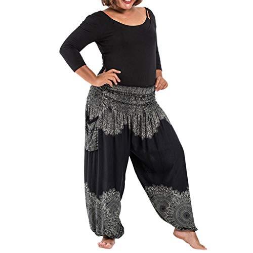Kostüm Funky Bauchtanz - Lazzboy Plus Size Frauen Beiläufige Lose Hippie Yoga Hosen Baggy Boho Casual Pants Damen Haremshose Mit Gesmoktem Bund Blumenmuster Funky(Schwarz)