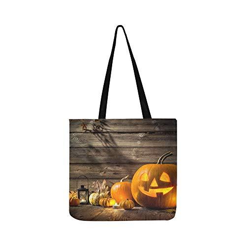 Halloween Kürbis Kopf Jack Laterne Auf Leinwand Tote Handtasche Umhängetasche Crossbody Taschen Geldbörsen Für Männer Und Frauen Einkaufstasche