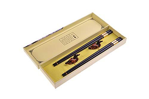 Quantum Abacus Black Metal Set de Baguettes de Luxe en Alliage métallique dans Coffret Cadeau - 2 Paires des Baguettes en métal Noir, 2 Supports en Bambou, SC-H-S2-ML-02