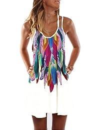 iBaste Boho Mini Vestido Mujer Verano Estampado Floral Ropa de Playa Strappy Sundress Cover up