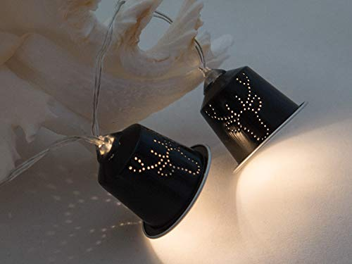 Upcycling Lichterkette schwarz Elch aus Kaffeekapseln