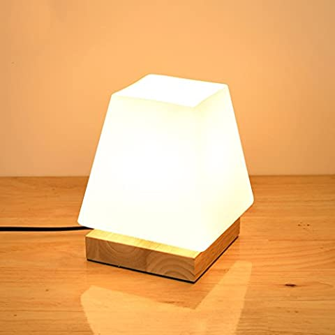 Massivholz Kleine Tischlampe, Glas Lampenschirm, kreative Dimmen Nachttischlampe, Schreibtisch Dekoration Lichter Schlafzimmer Kleine Nacht Licht ( Farbe : C )