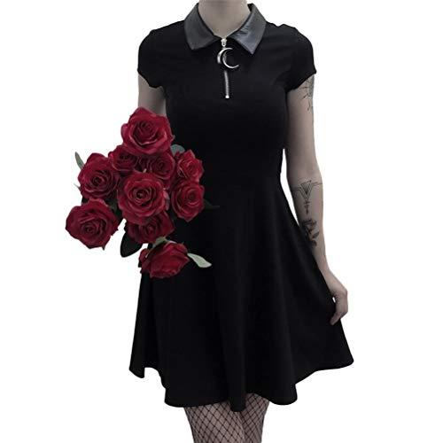 yssgtt Frauen Gothic Punk Kurzarm Puppenkragen Sexy Slim Summer Black - Sexy Kostüm Daphne