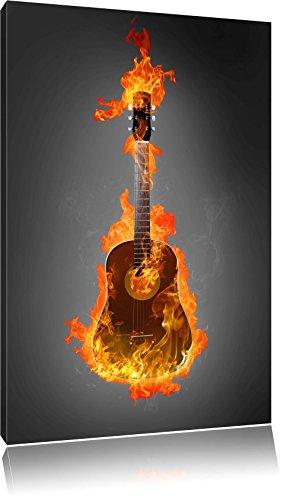 Brûler guitare, Hot Flames noir / blanc Taille: 80x60 sur toile, XXL énormes Photos complètement encadrées avec civière, impression d'art sur murale avec cadre, moins cher que la peinture ou une peinture à l'huile, pas une affiche ou une bannière,