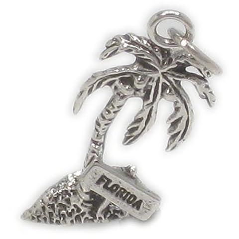 Florida Palm Tree sterling silver charm .925 x 1 North America Holidays SSLP1383