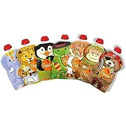 SQUIZ - Lot de 7 Gourdes Rechargeables et Réutilisables 130ml pour compotes et purées // Parfait pour enfants, ados et adultes // Sans BPA - FABRICATION SUISSE