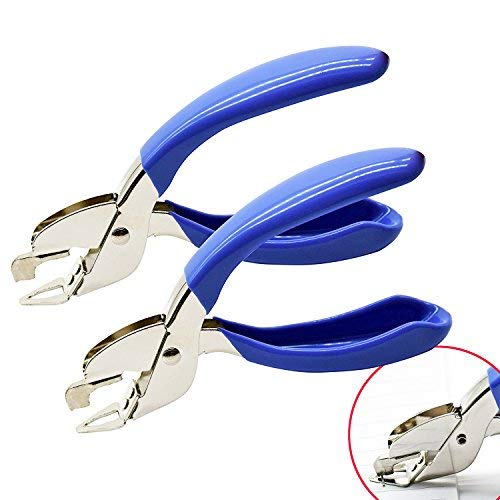 Yuekui Dedicated Heftklammerentferner für Familie, Schule, Krankenhaus, Büro, Tool zum Entfernen von Heftklammern, 2 Stück, Blau