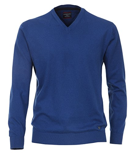 Pullover mit V-Ausschnitt unifarben royalblau/meliert