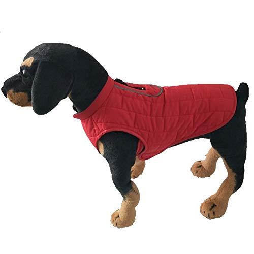 MISSMAO Fleece Gefütterte Hundejacke Sehr Warm für Winter und Kaltes Wetter Extraweiche Winddichte Hundeweste Rot M