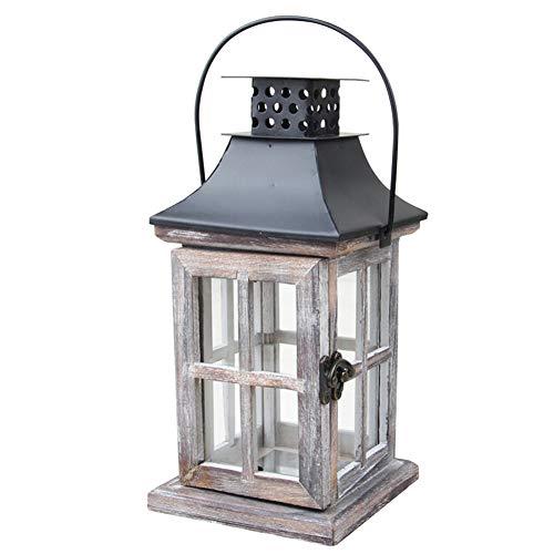 FADDR Holz & Metall Kerze Laterne Hurricane Lampe mit Griff, rustikale Landhausstil Teelichthalter, hängende schäbige Sturmlaternen Garten Hochzeitsdekoration -