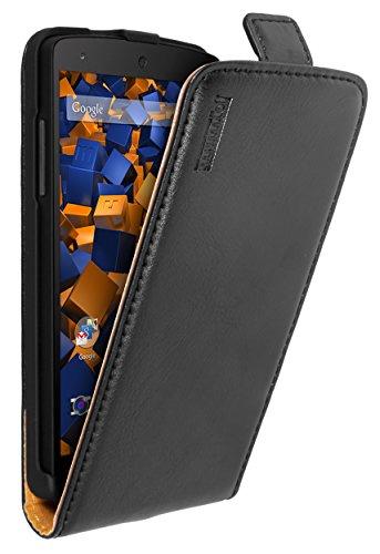 mumbi PREMIUM Leder Flip Case für Google Nexus 5 Tasche schwarz