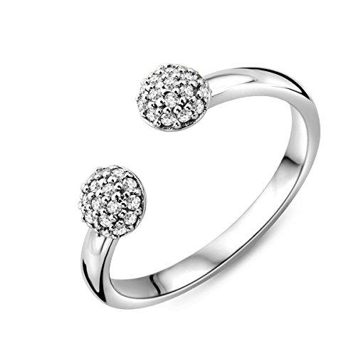 Miore Damen Sterling Silber (925) Designer Pavé Kugeln Ring mit Brillantschliff Zirkonia