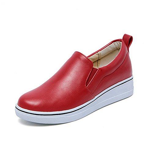 AgooLar Femme Pu Cuir Tire Rond à Talon Bas Chaussures Légeres Rouge