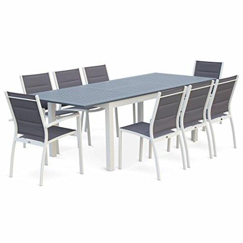 Alice's Garden Salon de Jardin Table Extensible - Chicago Gris foncé - Table 175/245cm avec rallonge et 8 assises en Textilène
