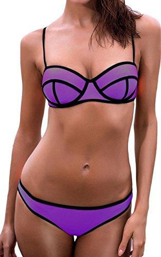 Cliont Helle Tauchanzug Bikini-gesetzte Badeanzug Bademode Push up Lila