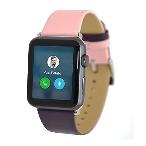 Apple Watch Bracelet, Apple Watch Band 38 mm Série 1 série 3, Misvoice Double Lanière de Cuir Véritable Couleur Bracelet de Rechange avec Fermoir en Métal pour Apple iWatch et Sport & Hermès 38 mm D'emballage Cadeaux Rose/Marron