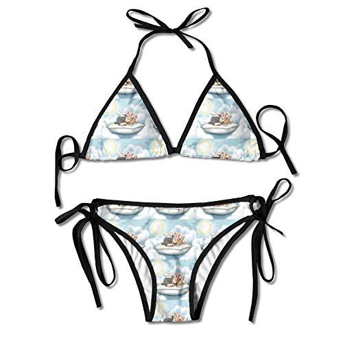 Sliding Top-panels (Rghkjlp Yorkie Angel Tink Quilt Panel Womens Triangle Top Bikini Swimsuit Sliding Swimwear)