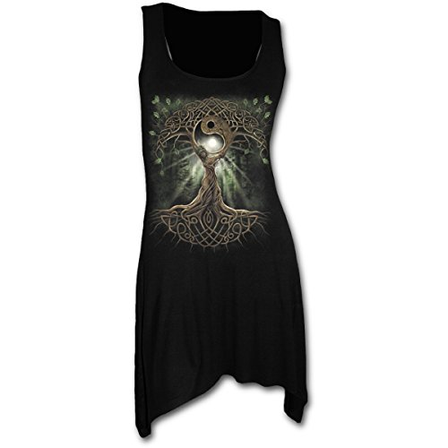 Spiral Direct Damen Oak Queen - Goth Bottom Camisole Dress Black Kleid, Schwarz 001, 46 (Herstellergröße: X-Large) (Queen Of Hearts Rock)