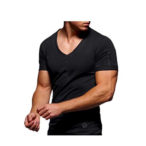 REALIKE Herren Kurzarmshirt Essential Basic V-Ausschnitt Einfarbig Top Classics Casual Slim Fit T-Shirt Oberteil Männer Frühling Sommer Bequem Baumwolle Atmungsaktiv Sweatshirt Blusen -