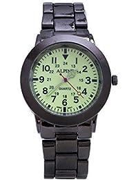 Los Alpine nuevos hombres '' s Negro Correa Metal Gunmetal Dial luminoso pulsera analógico reloj cuarzo
