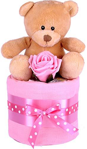Bebé niñas Mini Zebra-tarta de pañales, Baby Shower regalo, rosa bebé cesta de regalo