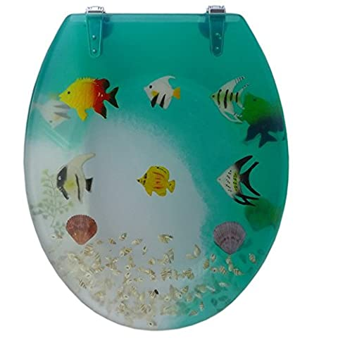 Design Toilettensitz UNIKAT / Wc Deckel / Toilettendeckel / Klositz mit Fische - Muscheln Motiv / Meer / Wasser / Strand / WC Sitz / Antibakteriell