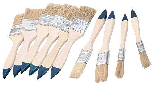 Pinselset 10-tlg. | Malerpinsel Pinsel Flachpinsel | Holzstiel mit hellen Borsten