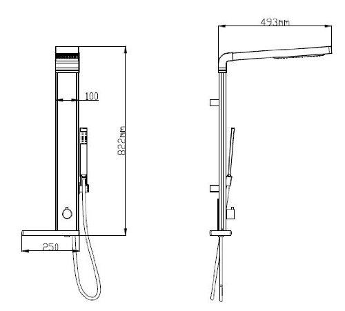 Aluminium Duschpaneel - Duschsäule mit Mikrofonhandbrause von Sanlingo -