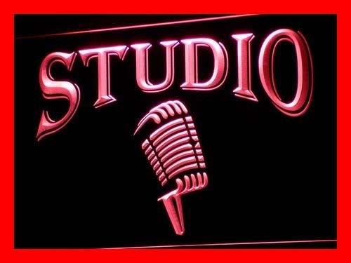 Cartel Luminoso ADV PRO i587-r Studio On The Air Microphone Bar Neon Light Sign