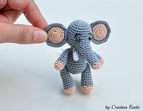 Elefant Spielzeug, Amigurumi Geschenk, häkeln graues Tier, weiche Miniatur, afrikanisches Geschenk (Sachen Für Stricken Kinder)