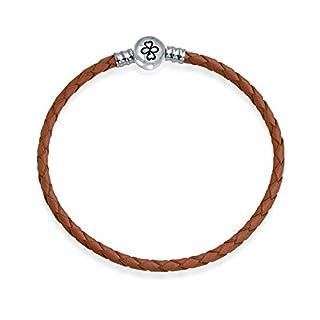 AYLLU 925 silberne runde Barrel Haken Brown Leder-Charme-Korn-Armband