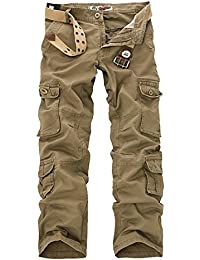 Menschwear Mens Multi Pockets Cargo Trousers Military Style with Belt 28-46
