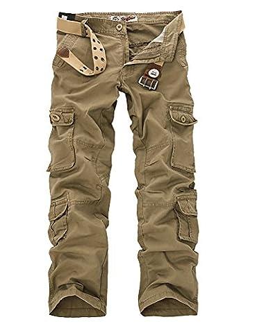 Menschwear Men's Multi Pockets Cargo Trousers Military Style with belt 025(44,Khaki)