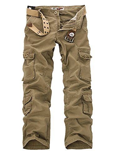 Menschwear Herren Cargo Hosen Freizeit Multi-Taschen Military pantaloni Ripstop Cargo da uomo 025(38,Khaki)