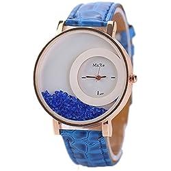 Tonsee Leger bunten Sand Damen Frauen Armbanduhren PU Leder Armband Studentinnen Uhren,Blau