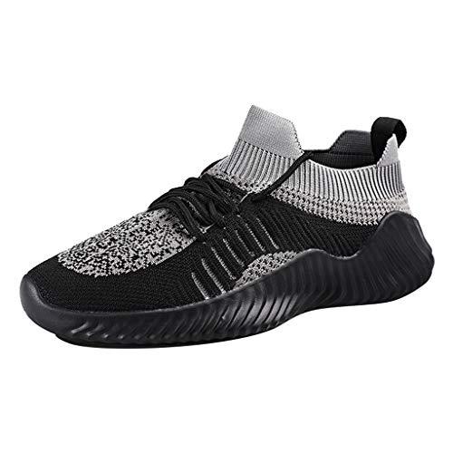 CUTUDE Herren Laufschuhe,Freizeitschuhe Herren Schuhe Sneaker Mode Atmungsaktives Mesh Kreuz Gym, Joggingschuhe (Schwarz, 45 EU) (Jungs Huarache, Schuhe)