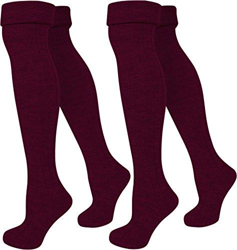 Burgund Gerippt (normani 2 Paar Overknees Gerippter Strick mit Umschlag Farbe Burgund Größe 39/42)