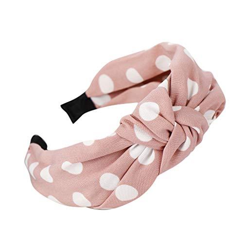 TOPGKD Ins heißer Verkauf Mode Bogen Knoten Punkt Hairband Frauen Haar Kopf Band süßes Mädchen Haar Stirnband (Rosa)
