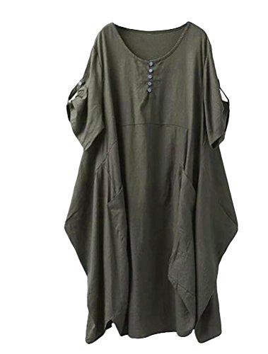 Lavnis Damen Leinen T-Shirt Tunika Kleid Rundhals Kurzarm Midi Kleid Grün 2XL (Vintage-stil-cocktail-kleid Plus)