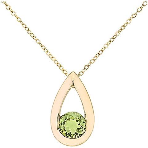 Revoni–9ct oro Amarillo Peridot collar con colgante en forma de lágrima 0,50ct Gemstone