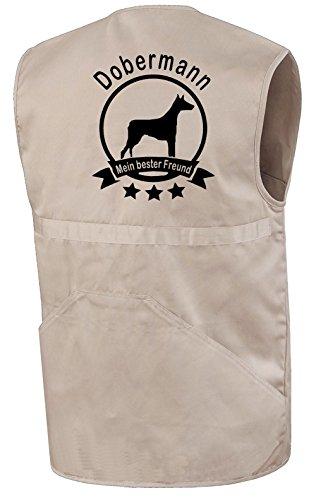 Dobermann - Mein bester Freund Hundesport Weste Trainingsweste Hundesportweste Weste für Gassigeher Beige