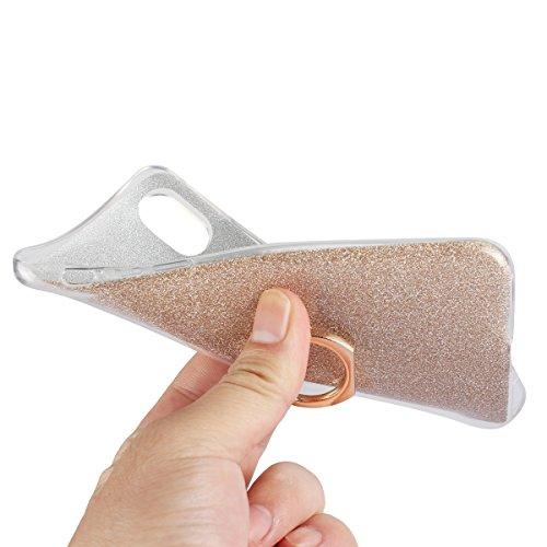 Meimeiwu Ultra Thin TPU Schutzhülle Case Hülle mit 360 Grad Rotierende Ring Ständer für iPhone 8 - Schwarz Schwarz