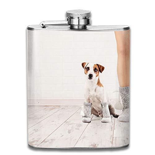 Female and Dog In Socks Warm Clothing Family Home Gift for Men 304 Stainless Steel Flask 7oz