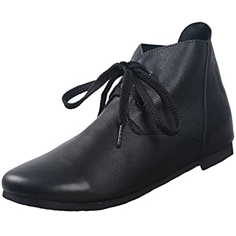 Ladies Lace up No Heel Ankle Boots, Soft Black and
