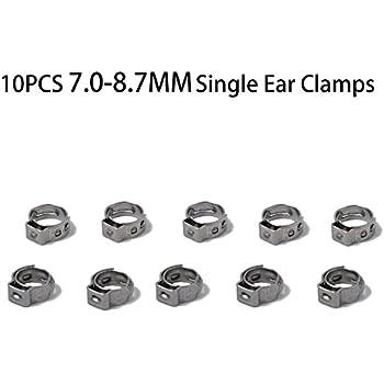 5-7MM Akozon 10pcs Collier de Serrage Clip /à Ressort Tuyau Serre-joints /à Tuyaux en Acier Inoxydable Deux-oreille