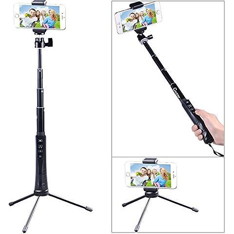 Cootree® KS-01 Bluetooth extensible selfie palillo con disparador remoto Bluetooth + plegable 3 Piernas Soporte para iPhone 6, 6 plus, 5s, 5c, 5, 4s, SAMSUNG Note4, Note3, 2, Note Galasy S5, S4, S3, LG, BlackBerry, etc. IOS / La mayoría de los teléfonos inteligentes