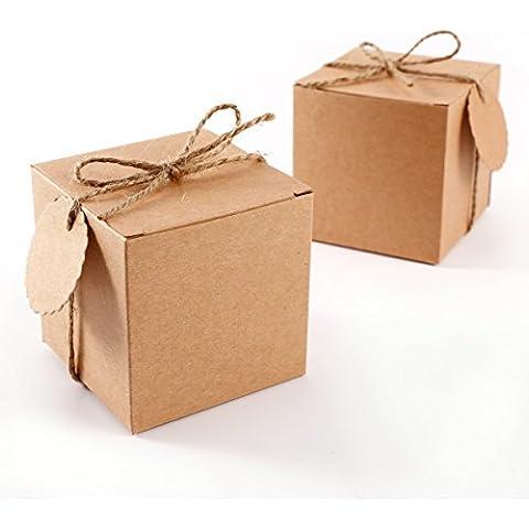 CLE DE TOUS - Set de 50 Cajas para dulces bombones Caja kraft de boda regalo Rústico + 50pcs Etiquetas con cuerda Gift Tags Kraft Paper
