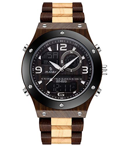 SENORS Herren Uhr Casual Digital Analoge Quarzuhr mit Holz Band Datum Wasserdicht Armband 8817