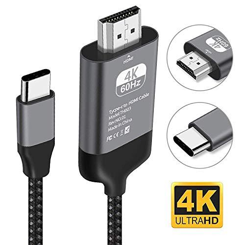 Kdely Cable USB C vers HDMI, Compatible avec pour MacBook Pro 2017/2018, Dell XPS 15/13, Galaxy S10/S9/S8,Note10/10+/9/8, Huawei P30/30 Pro,P20,Mate 30,30 Pro,20,10, MateBook X Pro etc. 2m/Noir